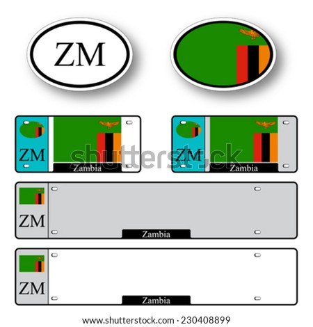 zambia auto set against white background, abstract vector art illustration, image contains transparency - stock vector