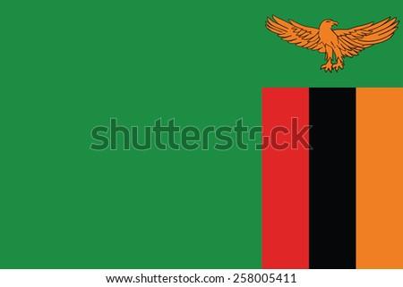 Zambia Flag vector - stock vector