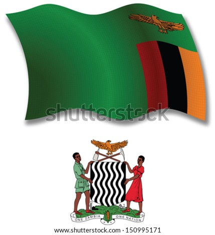 zambia shadowed textured wavy flag and coat of arms against white background, vector art illustration, image contains transparency transparency - stock vector