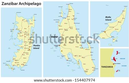 Zanzibar map stock vector 154407974 shutterstock zanzibar map gumiabroncs Images