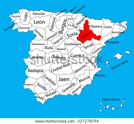 Zaragoza Map Spain Province Vector Map Stock Vector 327278594