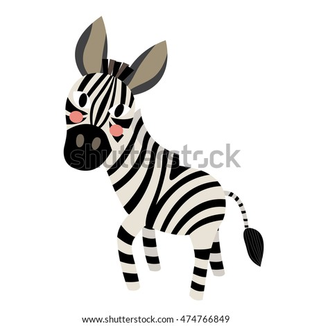 Zebra animal cartoon character isolated on white background.
