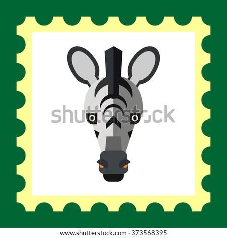 Zebra head icon - stock vector