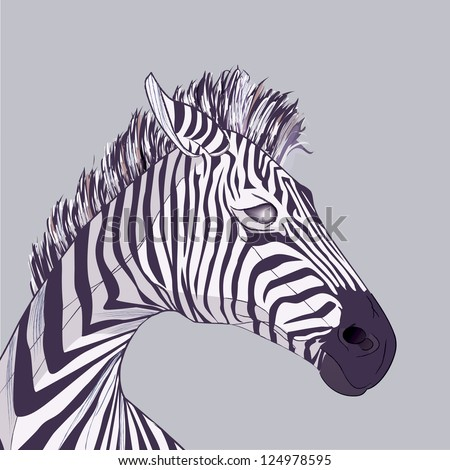 Zebra head, vector drawing with brush strokes and transparencies, EPS 10
