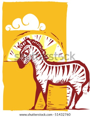 zebra on african plain with sun and clouds. - stock vector