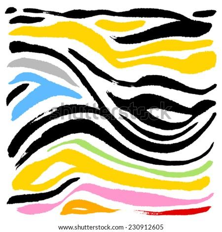 zebra print - hand drawn in vector / color Version - stock vector