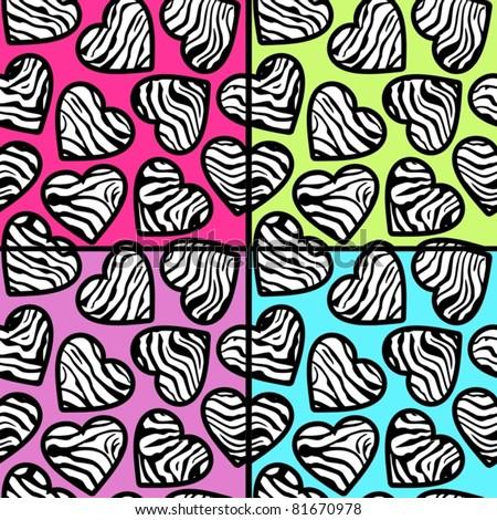 Colorful animal print hearts - photo#28