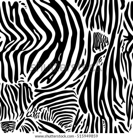 Zebra print pattern. Seamless background. Black and white wild animal skin or fur.