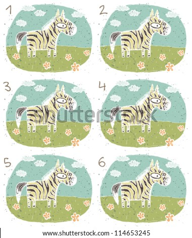 Zebra Puzzle ... Task: Find two identical images (match the pair)! ... Answer: No. 1 and 4 - stock vector