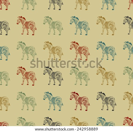 zebra seamless. Color vector background. - stock vector