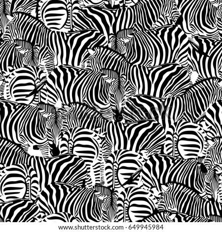 Wild Animal Texture Striped Black And White Design Trendy Fabric