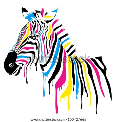 Zebra with colored stripes - stock vector
