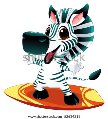 Zebra with surf. Funny cartoon and vector  character - stock vector