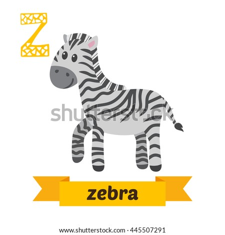 Zebra. Z letter. Cute children animal alphabet in vector. Funny cartoon animals. Vector illustration - stock vector