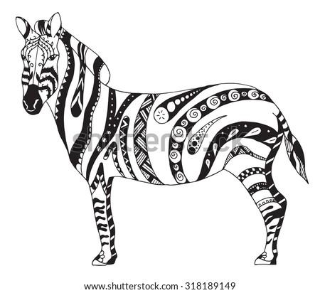 Zebra zentangle stylized, vector, illustration, freehand pencil, hand drawn, pattern - stock vector