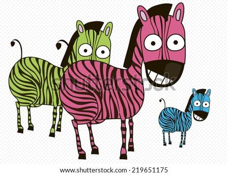 zebras - stock vector