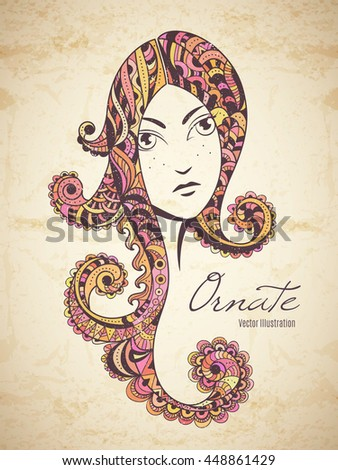 Zen art girl. Portrait of beautiful woman with ornate hair. Hand drawn vintage style boho fashion illustration with old paper texture. - stock vector
