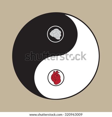 Zen harmony symbol of heart and brain - stock vector