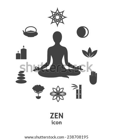 Zen icon. Buddhism, zen philosophy, circle composition - stock vector