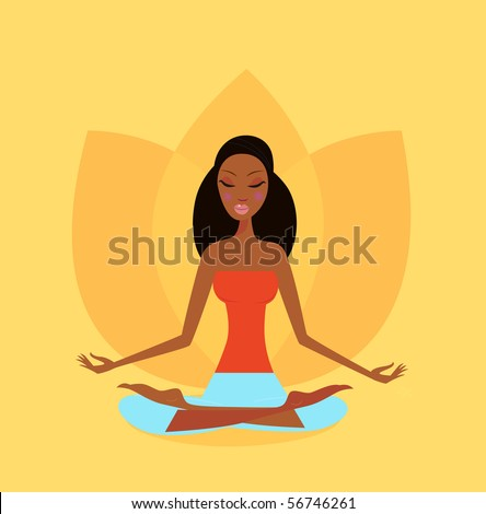 Zen meditation - yoga girl in lotus flower position. Vector Illustration.