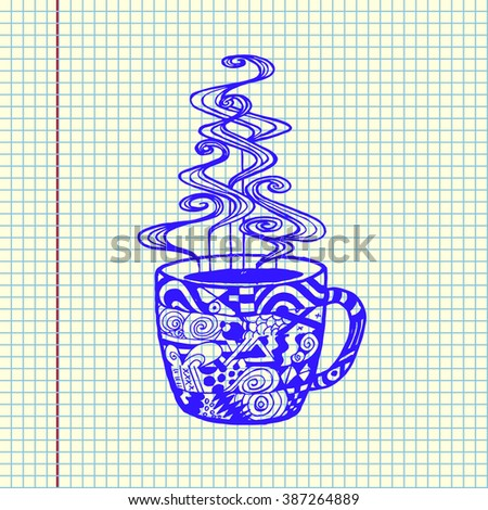 Zen tangle cup drawn in copy book. Hand drawn vector illustration. - stock vector