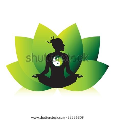 Zen yoga meditation silhouette design with lotus flower background. - stock vector