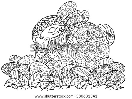 Zendoodle Stylized Cute Bunny And Ester Eggs For Coloring Page Card Invitations Other