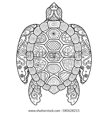 Zentangle Tribal Stylized Turtle Hand Drawn Stock Vector