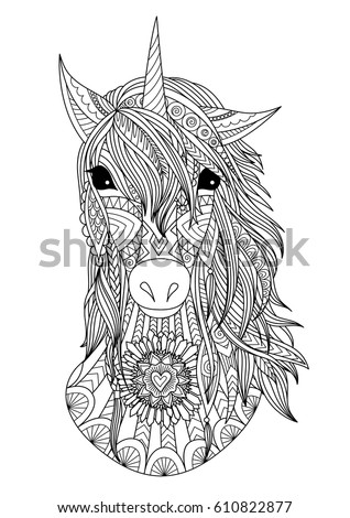 Zendoodle Stylized Unicorn Head T Shirt Stock Vector ...