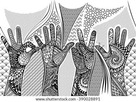 Zentandle gestures hands seamless border. Hand drawn doodle vector illustration. - stock vector