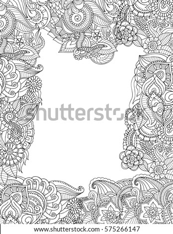 Zentangle Adult Coloring Book Style Postcard Stock Vector