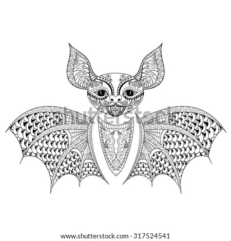Zentangle Bat totem for adult anti stress Coloring Page for art therapy, tribal illustration in doodle style. Vector monochrome sketch with high details isolated on black background. - stock vector