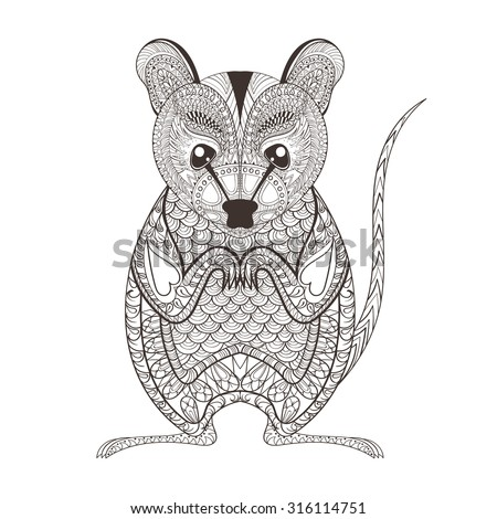 Zentangle brown  Possum totem for adult anti stress Coloring Page for art therapy, illustration in doodle style. Vector monochrome sketch with high details isolated on white background - stock vector