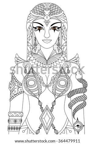 zentangle cleopatra queen of egypt design for coloring book for adult anti stress coloring pages - Ancient Egypt Mummy Coloring Pages