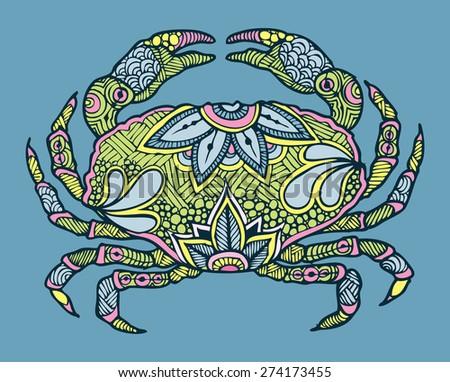 zentangle colourful vector crab - stock vector