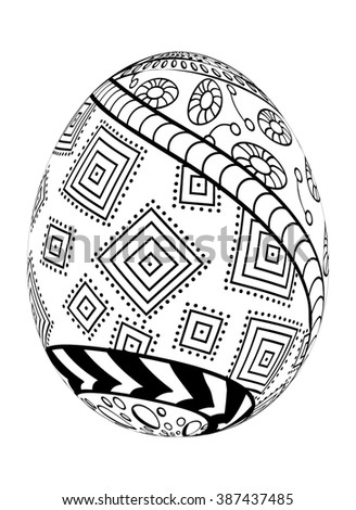 Zentangle Easter Egg with decorative ornate isolated on white background..Use for coloring, cards, invitation, pattern fills, web pages elements and etc.