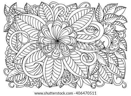 Coloring Book Artist Job : Doodle floral pattern black white page stock vector 358344188