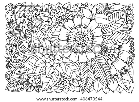 Zentangle Floral Doodles Black White Coloring Stock Vector 406470544 ...