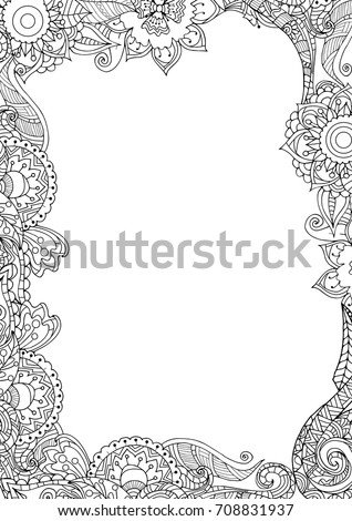 Zentangle Frame Border Adult Coloring Book Stock Vector 708831937 ...