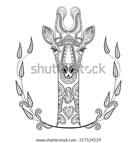 Zentangle Giraffe head totem in frame for adult anti stress Coloring Page for art therapy, illustration in doodle style. Vector monochrome sketch with high details isolated on white background. - stock vector