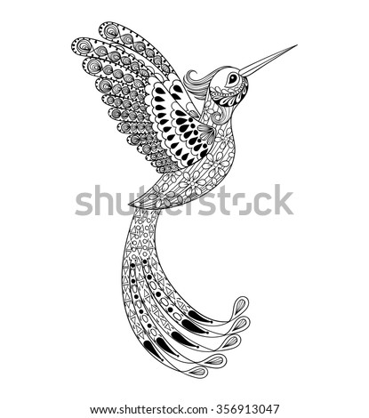 Zentangle Hand Drawn Artistically Hummingbird Flying Bird Tribal Totem For Adult Coloring Page Or Tattoo