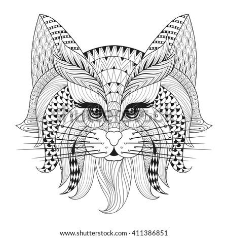 Zentangle Hand drawn Cat face for adult antistress coloring pages, post card, t-shirt print, logo. Cat illustration  in doodle style, tattoo monochrome design. - stock vector