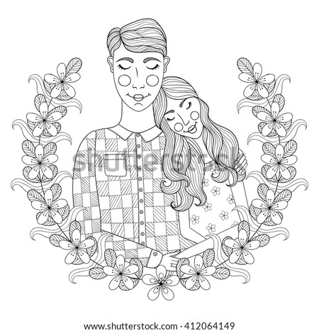 Zentangle Hand drawn lovely Couple for adult antistress coloring pages, post card, t-shirt print, Wedding invitation. Groom and bride illustration with flowers. Doodle style, tattoo monochrome design. - stock vector