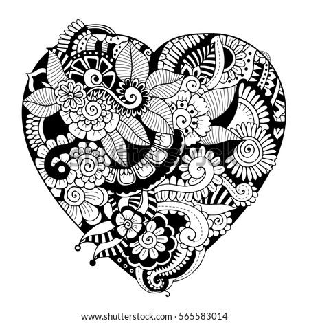 heart zentangle coloring pages - photo#25