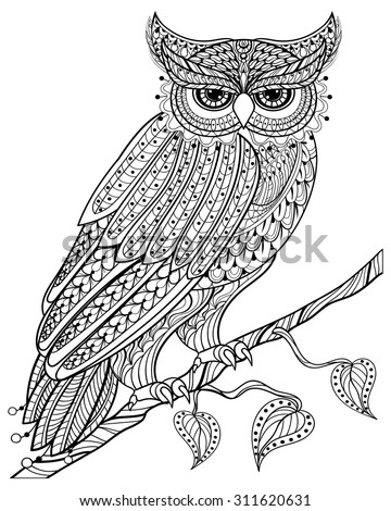 Zentangle magic Owl sitting on branch, for adult anti stress Coloring Page with high details isolated on white background, hand drawn illustration. Vector monochrome sketch. Bird collection. - stock vector