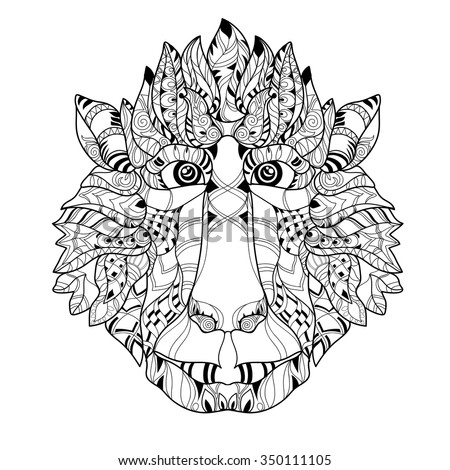 zentangle monkey head doodle hand drawn vector illustration sketch for tattoo or coloring pages