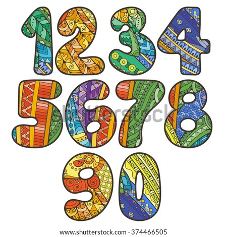 Hand Drawn Color Doodle Numbers One Stock Vector 304376732