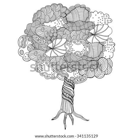 Zentangle pattern for coloring book. Hand-drawn decorative tree element in vector. Tree made of clouds. - stock vector
