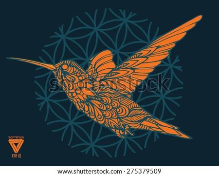 zentangle sacred geometry lineart vector hummingbird - stock vector