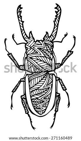 zentangle style beatle vector illustration  - stock vector